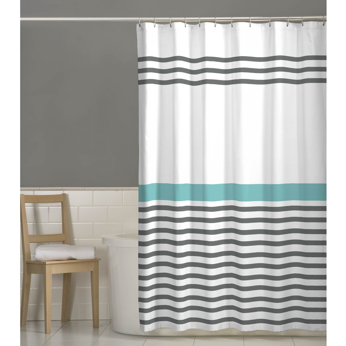 Maytex Simple Stripe Fabric Shower Curtain Shower Curtains