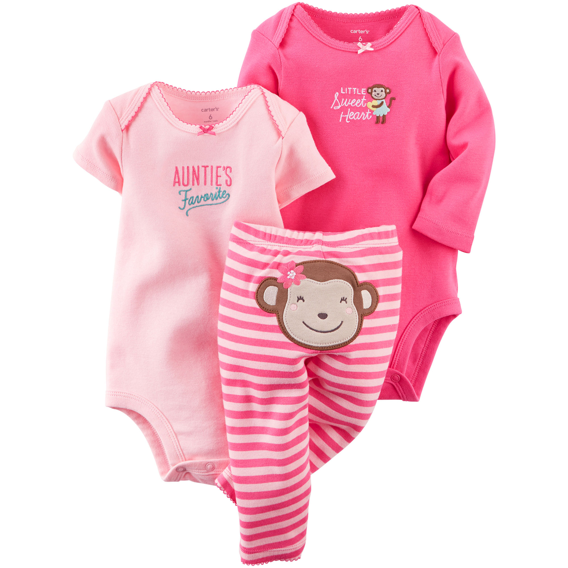 4a00e7f5d Carter's Infant Girls Pink Monkey Turn Me Around Bodysuits and Pants 3 Pc.  Set