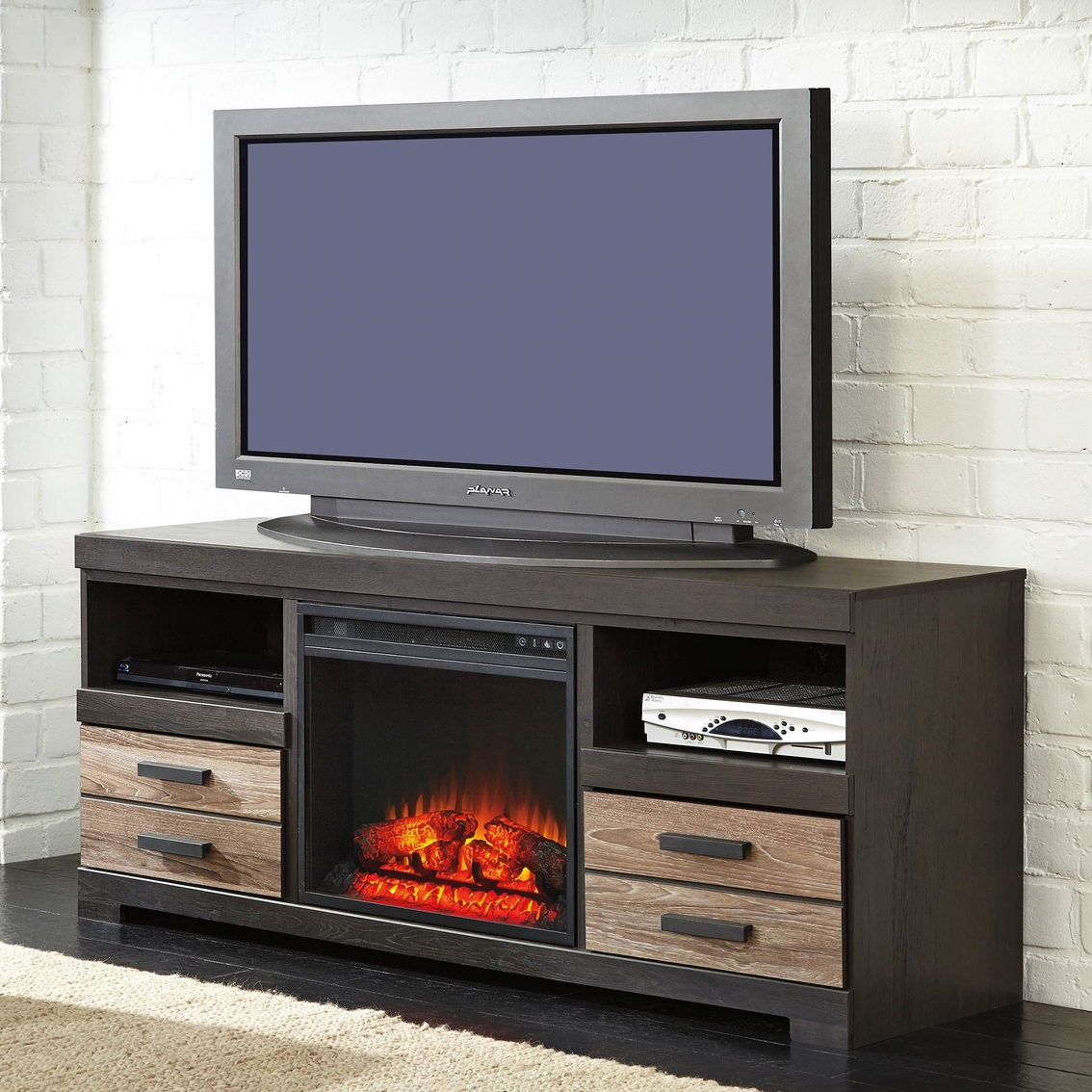 signature design by ashley harlington tv stand with fireplace