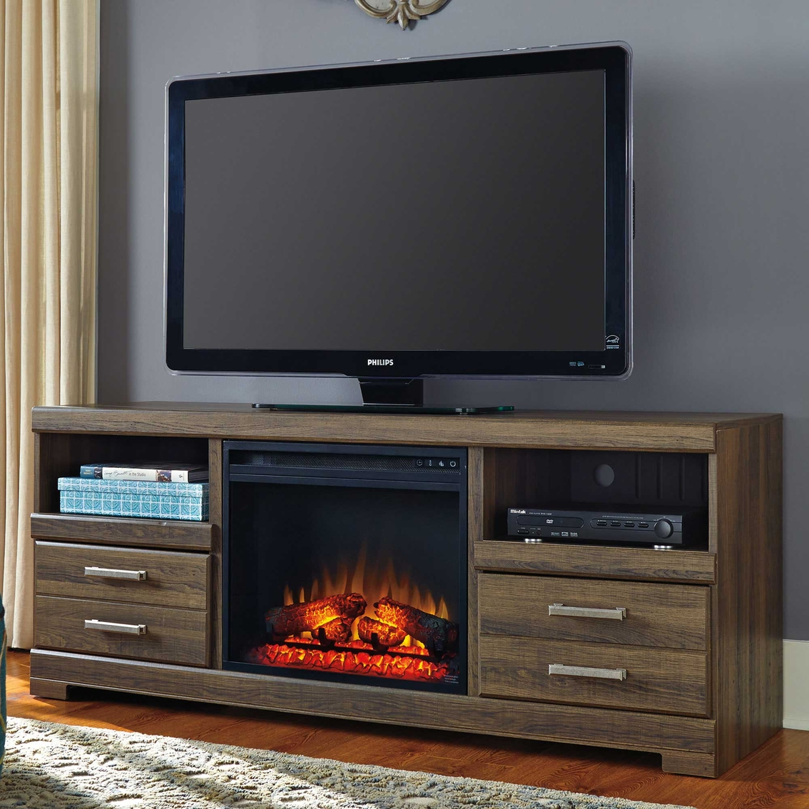 Shop Ashley Frantin TV Stand with Fireplace Insert and other name brand Media Furniture Home & Appliances at The Exchange. You