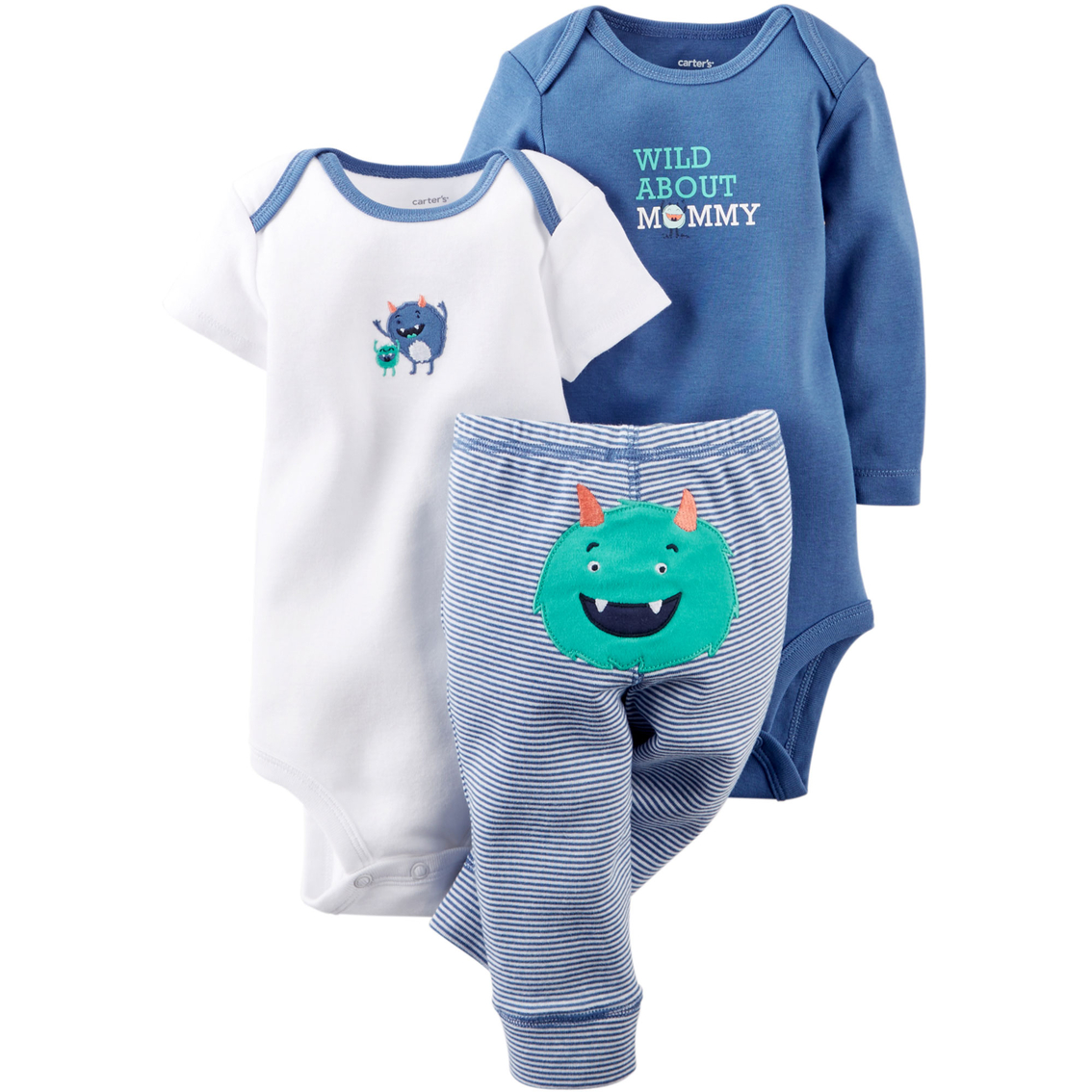 d26433c40f89b Carter's Infant Boys Turn Me Around Blue Monster Bodysuit and Pants 3 Pc.  Set