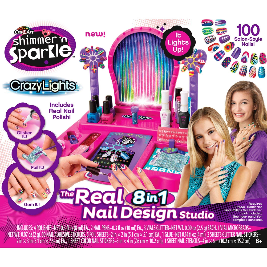 Cra-z-art Shimmer And Sparkle Crazy Lights Super Nail Salon Set ...