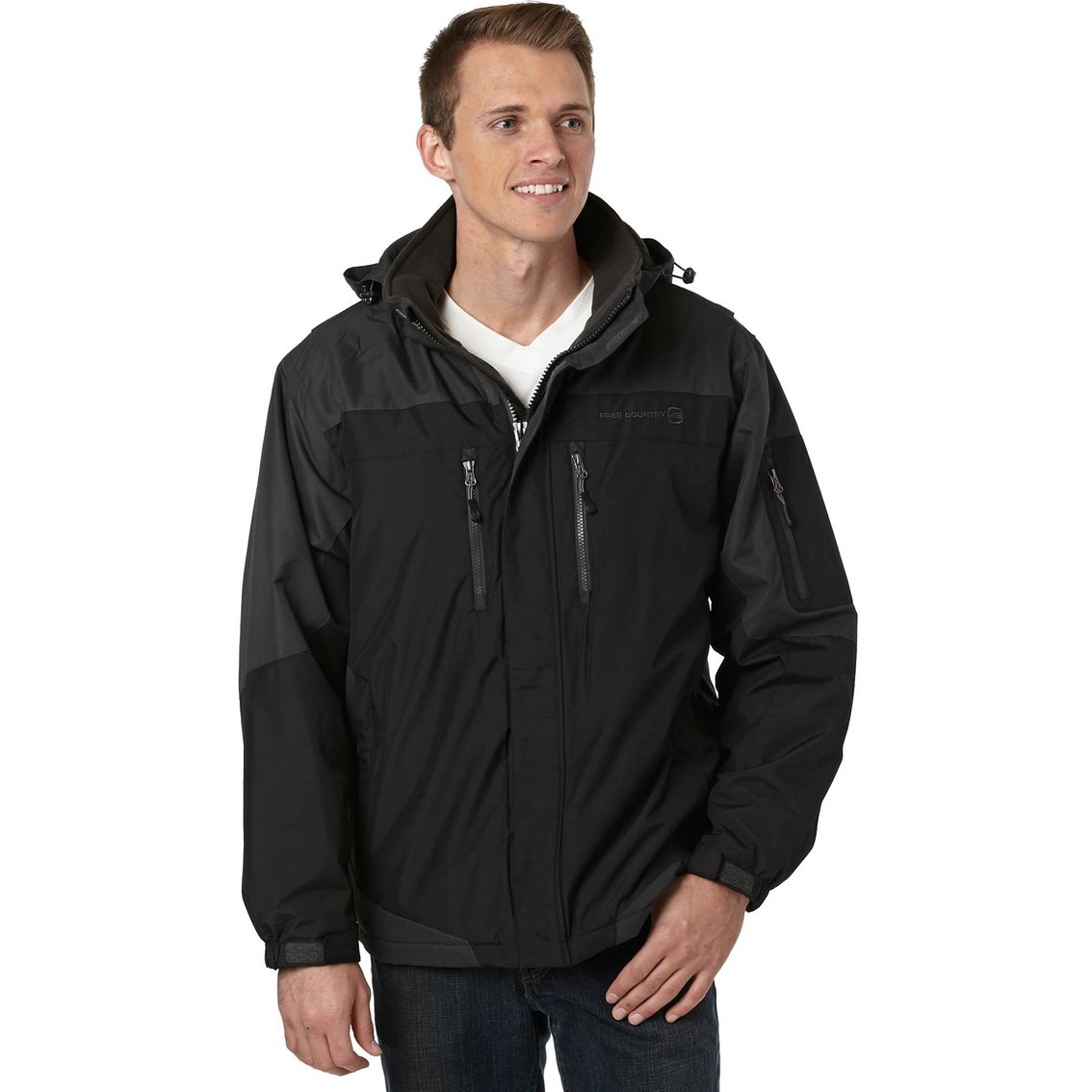 Free country men's colorblock midweight jacket