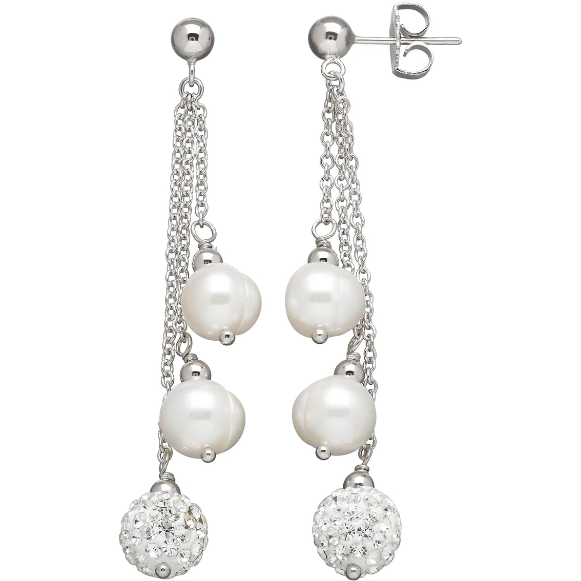 Honora Sterling Silver Freshwater Cultured Pearl And Swarovski Crystal Earrings
