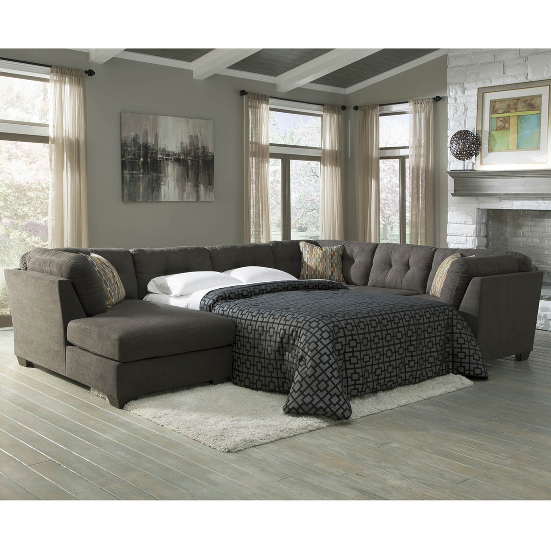 Benchcraft Delta City 3 Pc. Sleeper Sectional LAF Chaise