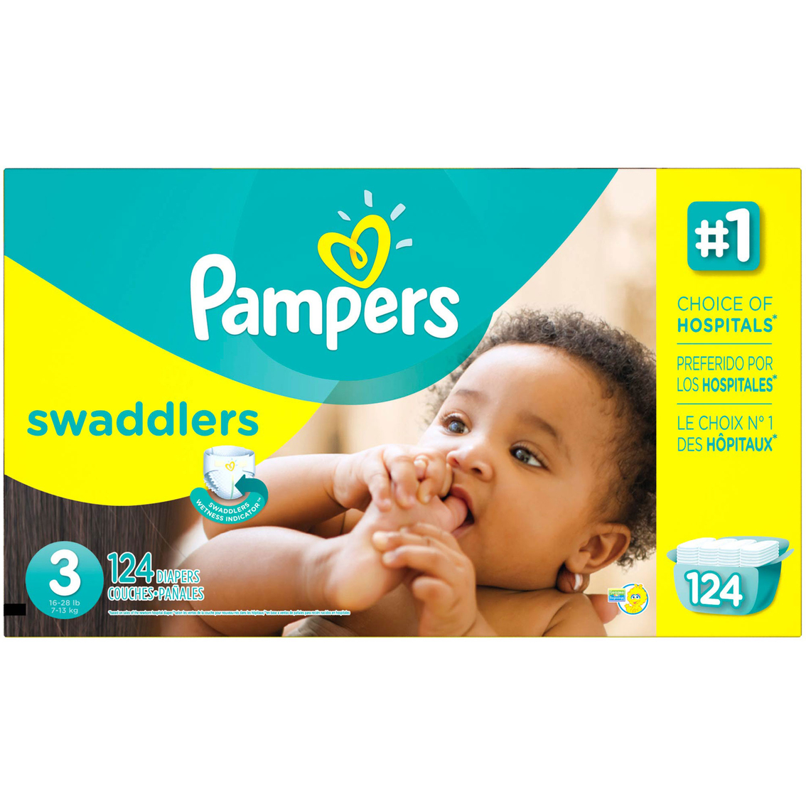 Pampers Swaddlers Giant Pack Diapers Size 3 (16-28 lb.), 124