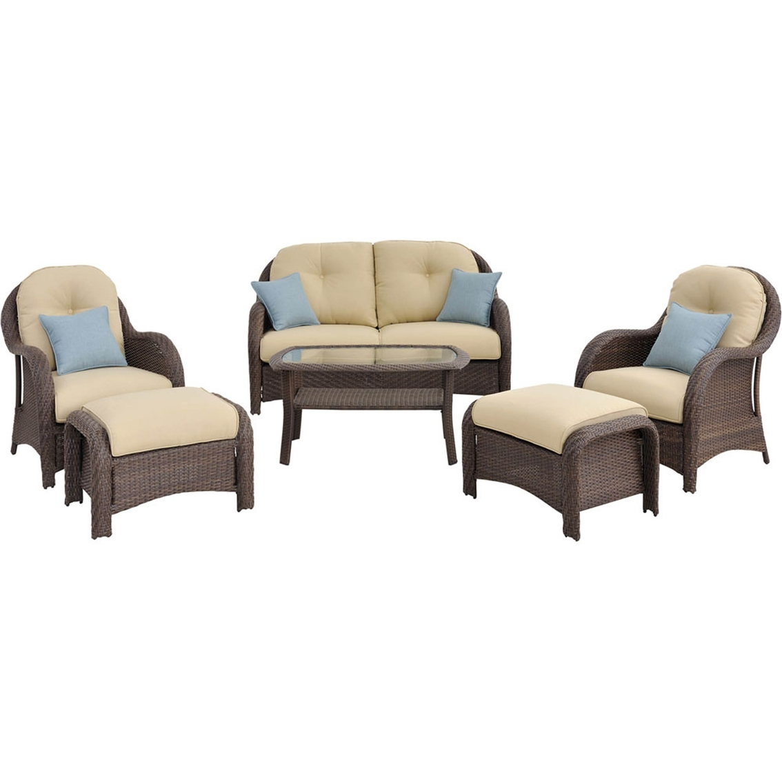 Hanover Outdoor Furniture Newport Wicker 6 Pc. Deep Seating Patio Set