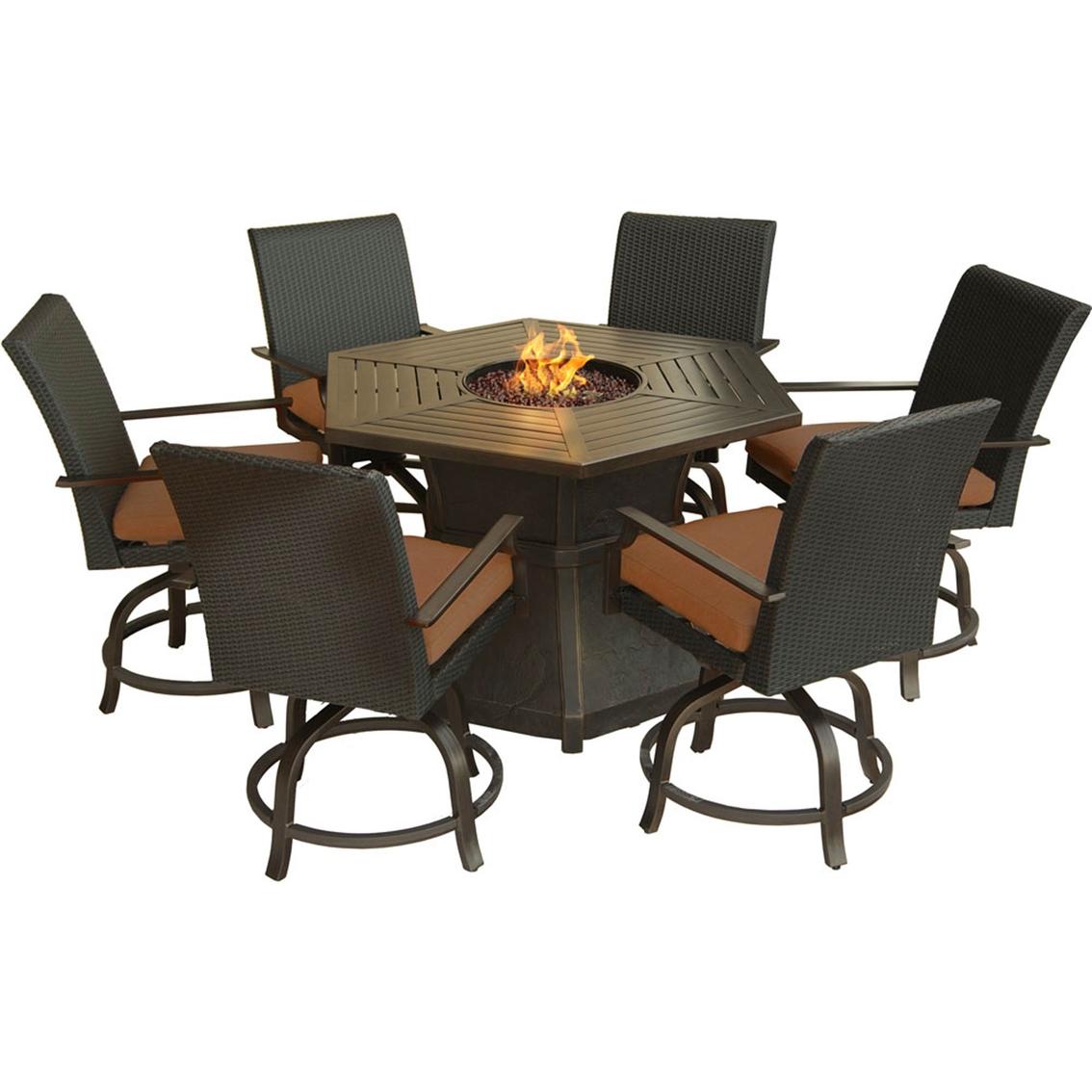 Hanover Outdoor Furniture Aspen Creek 7 Pc. Fire Pit ...