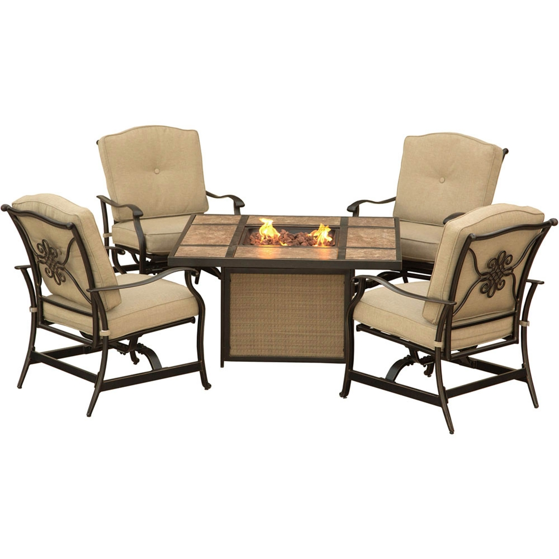 Hanover outdoor furniture traditions 5 pc lounge set with tile top fire pit