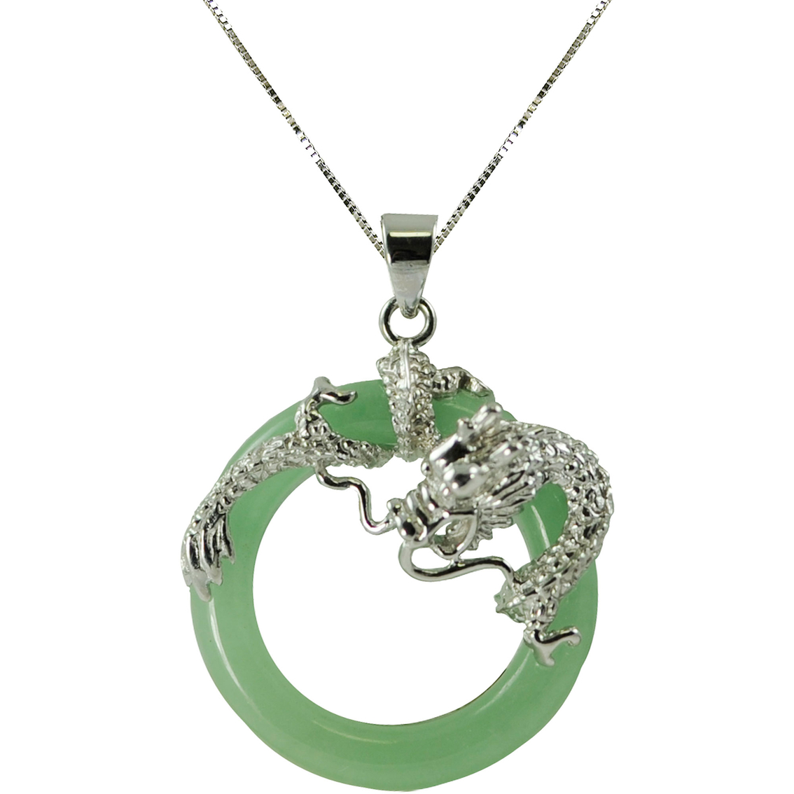 Imperial Dyed Green Jade Circle Pendant In Sterling Silver ...