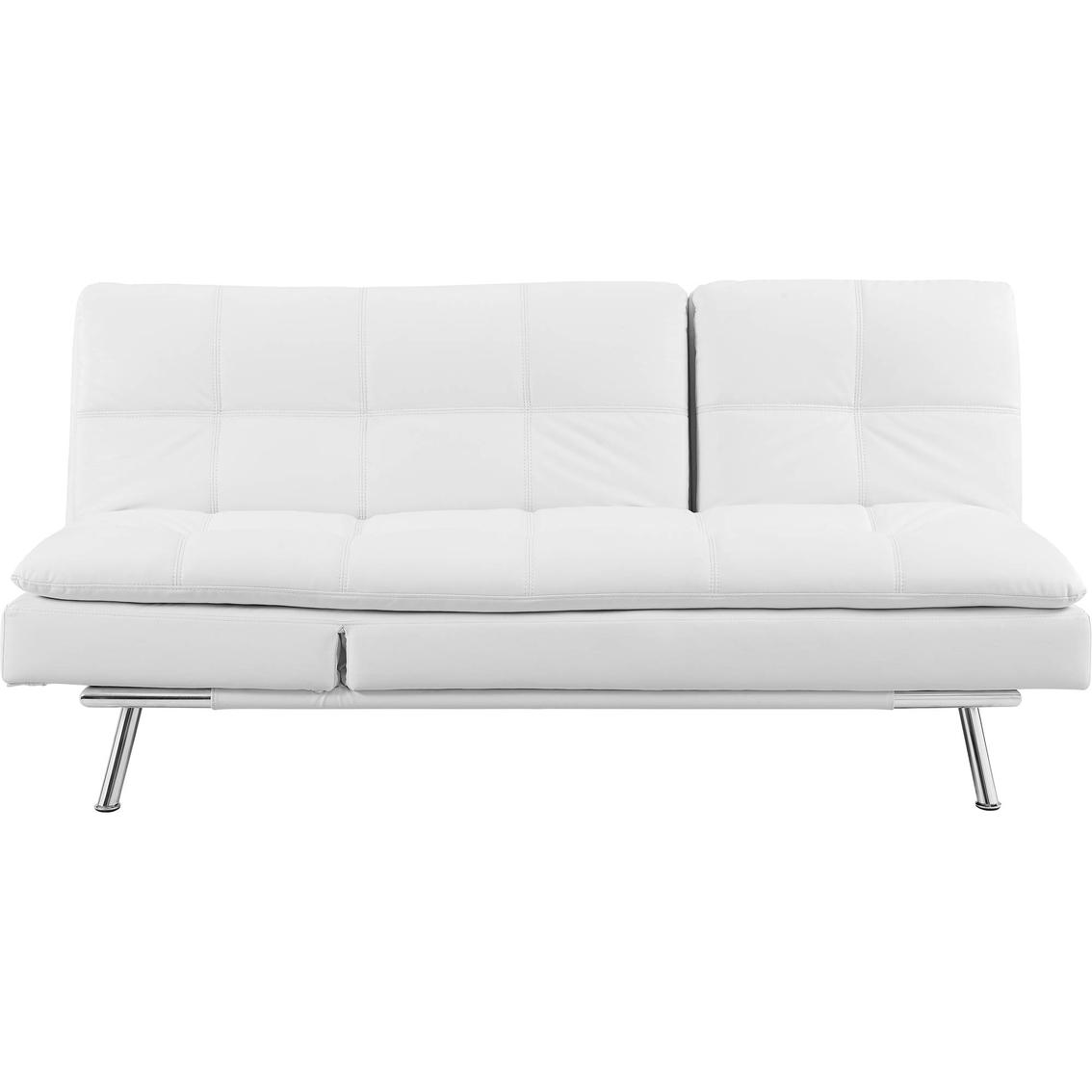 Serta Palermo Convertible White Leather Sleeper Chaise