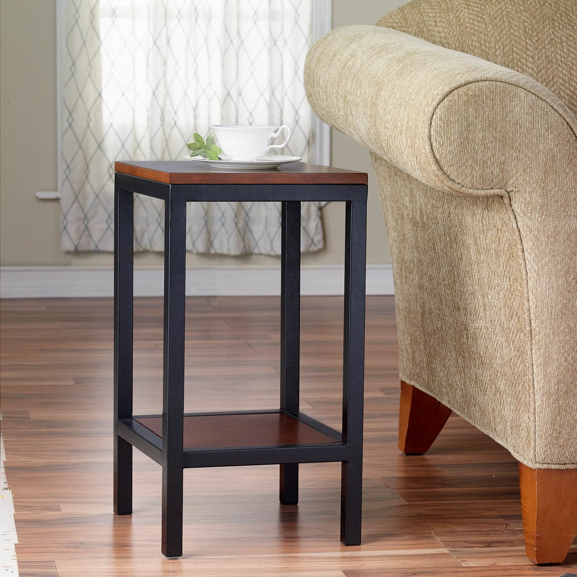 Kinfine tall accent table living room tables home for Tall side tables living room