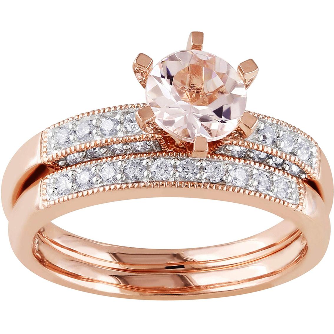 Pink Gold Diamond Bands: Sofia B. 10k Pink Gold 1/3 Ctw Diamond And Morganite