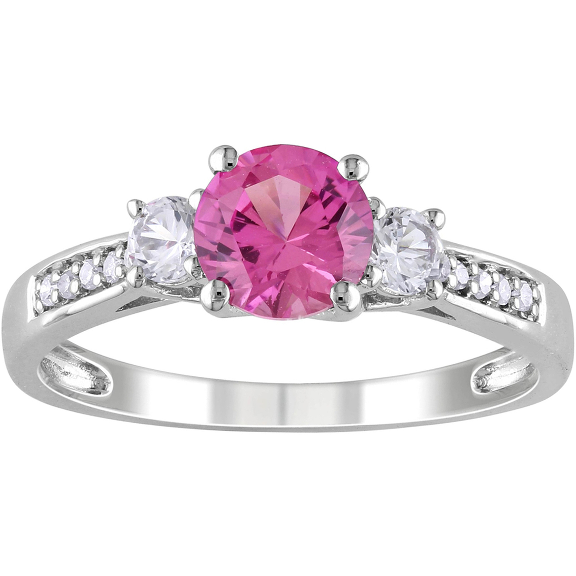 Sofia B. 10k White Gold 0.05 Ctw Diamond And Created Pink And White ...
