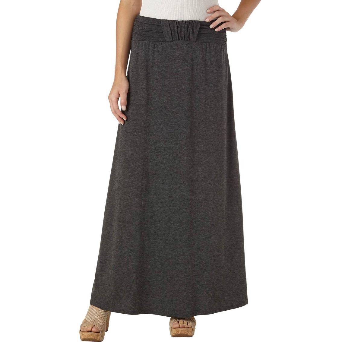 joe b juniors maxi skirt front shirred waistband solid