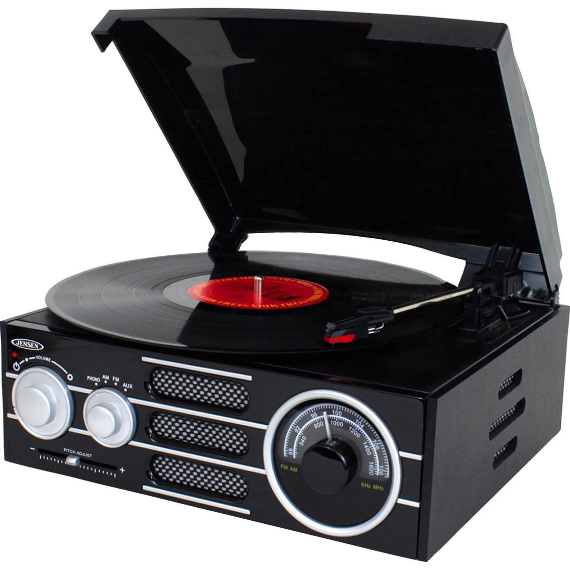 Jensen Retro 3 Speed Stereo Turntable With Radio