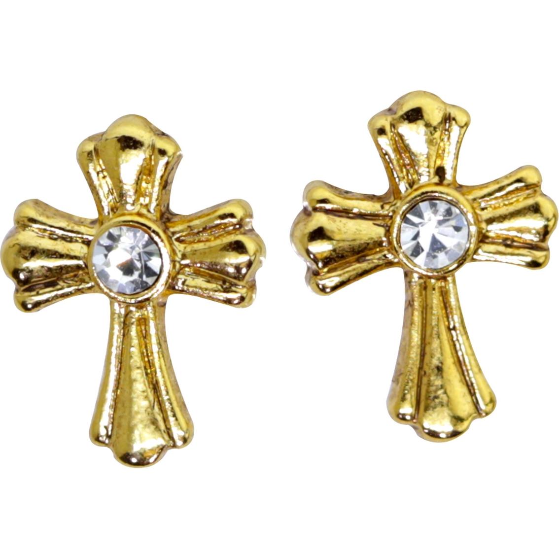 Symbols of faith 14k goldtone crystal cross stud earrings symbols of faith 14k goldtone crystal cross stud earrings biocorpaavc Images