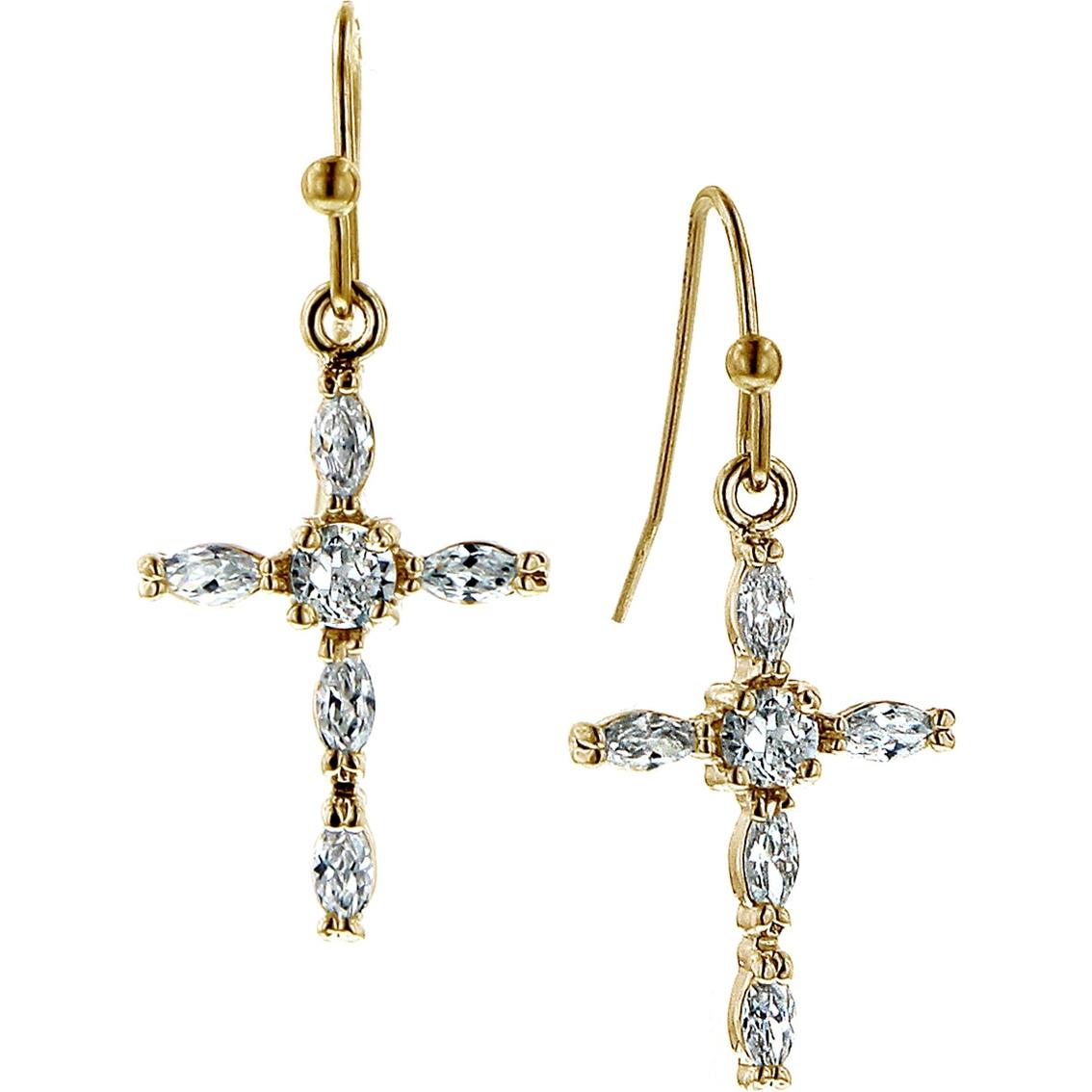 Symbols of faith 14k goldtone crystal cross drop earrings symbols of faith 14k goldtone crystal cross drop earrings biocorpaavc Images