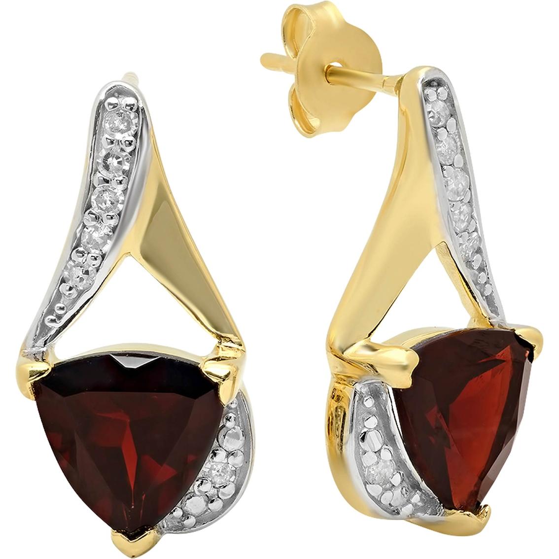 Trillion Cut Stud Earrings 14k Gold Over Sterling Silver