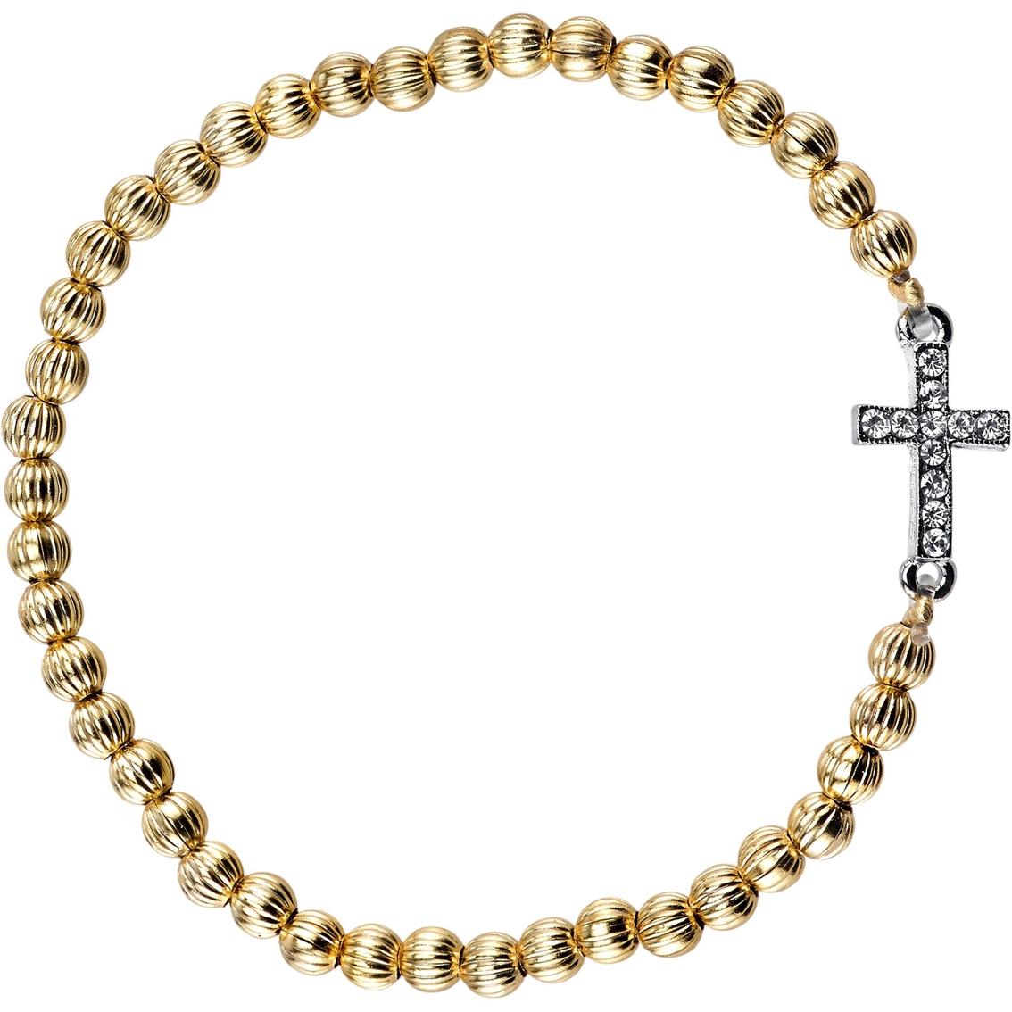 Symbols of faith crystal sideways cross beaded stretch bracelet symbols of faith crystal sideways cross beaded stretch bracelet biocorpaavc Images