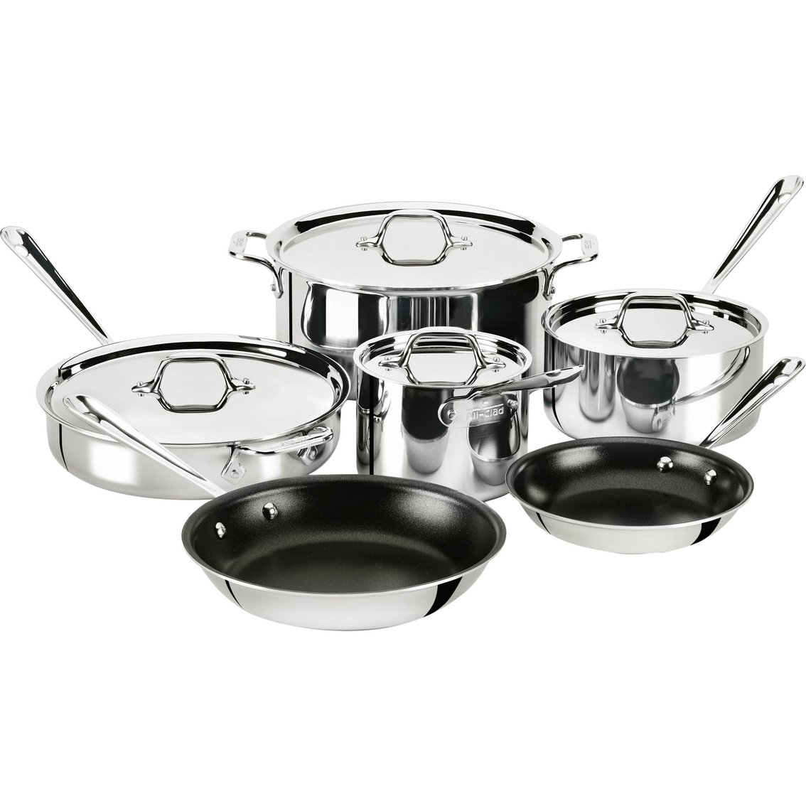 All Clad Stainless Steel 10 Pc Nonstick Cookware Set