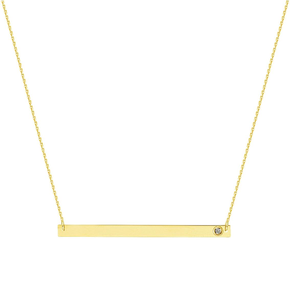 14k Gold Diamond Accent Thin Bar Necklace Diamond Fashion Pendants