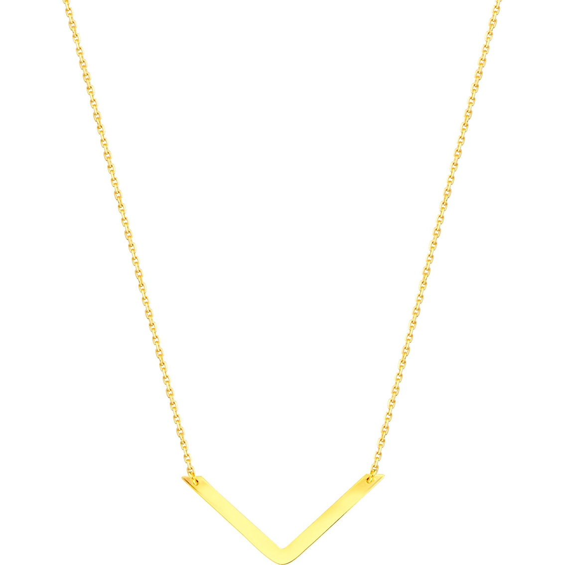 14K Yellow Gold Draw The Line V Necklace