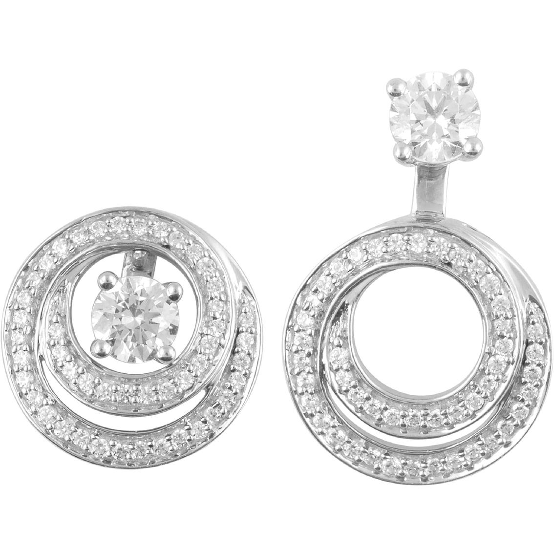 14k White Gold 1 3 Ctw Diamond Convertible Earring Jackets
