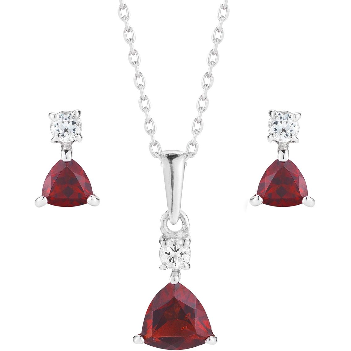Robert Manse Designs Sterling Silver Garnet Necklace And Earrings Set