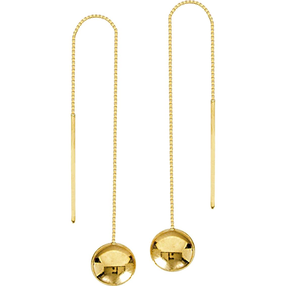 14k Yellow Gold 65mm Ball Bead Threader Earrings