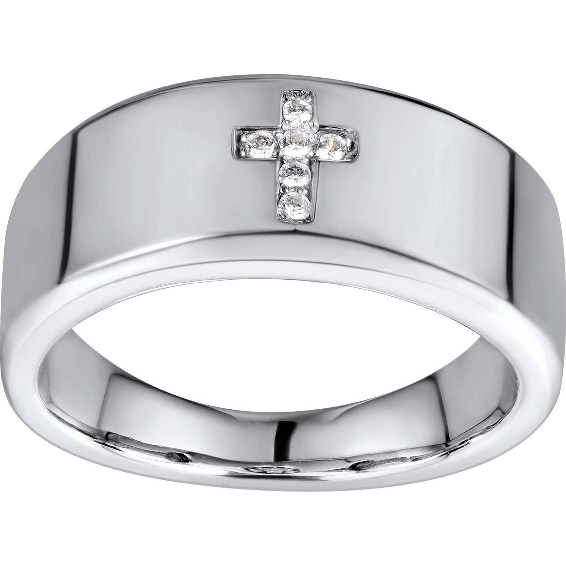 10k white gold accent cross ring size 10 5