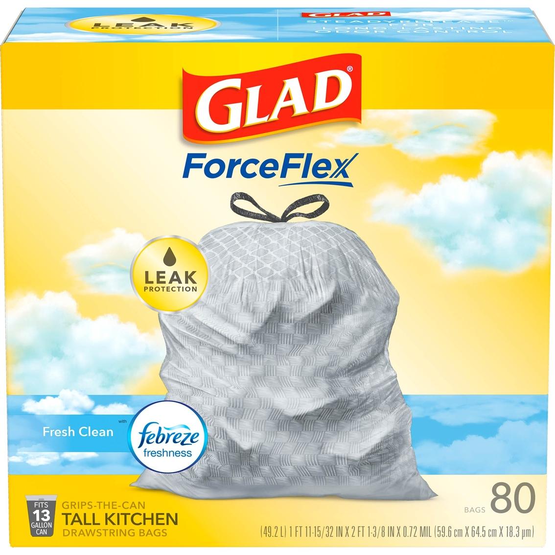 Glad Tall Kitchen Drawstring Odorshield With Febreze 13 Gallon Bags ...