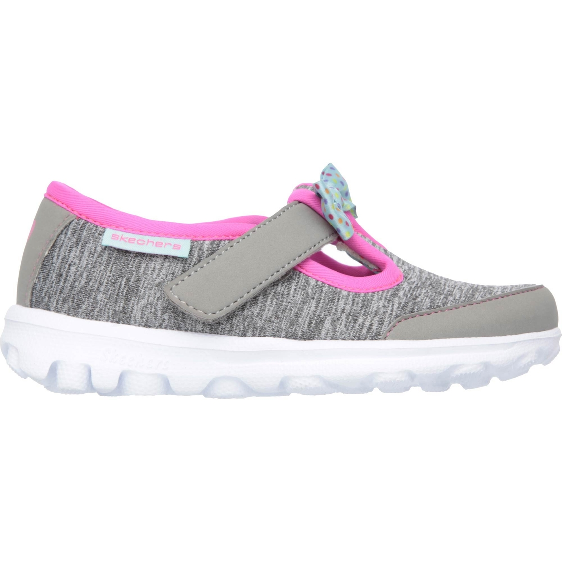 skechers bitty bow canvas slip on walking shoes