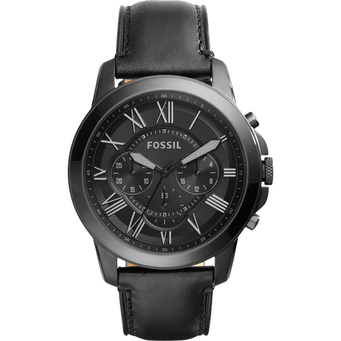 7deba0b461da Fossil Men s Grant Chronograph Black Leather Watch Fs5132