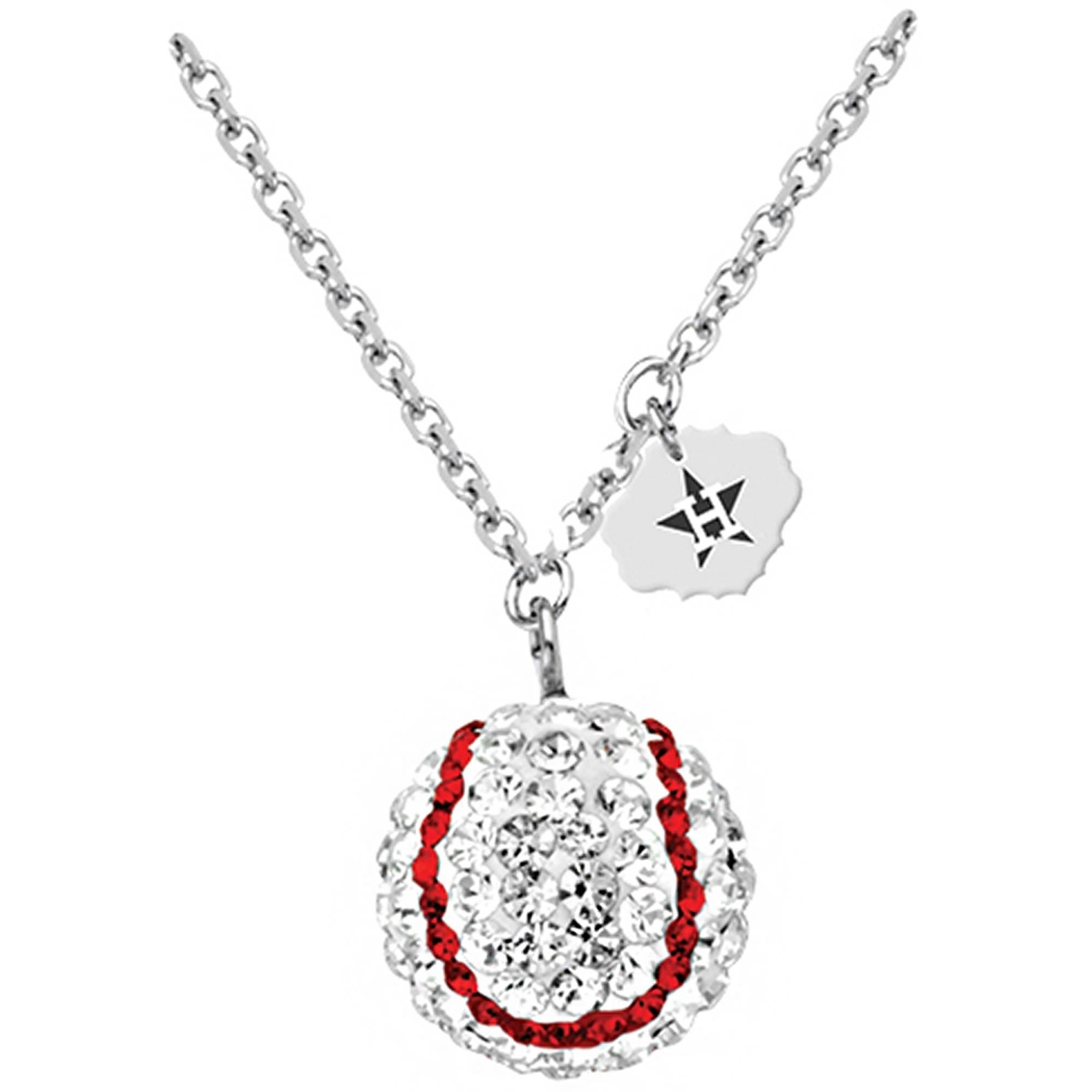 sterling silver mlb houston astros baseball necklace with