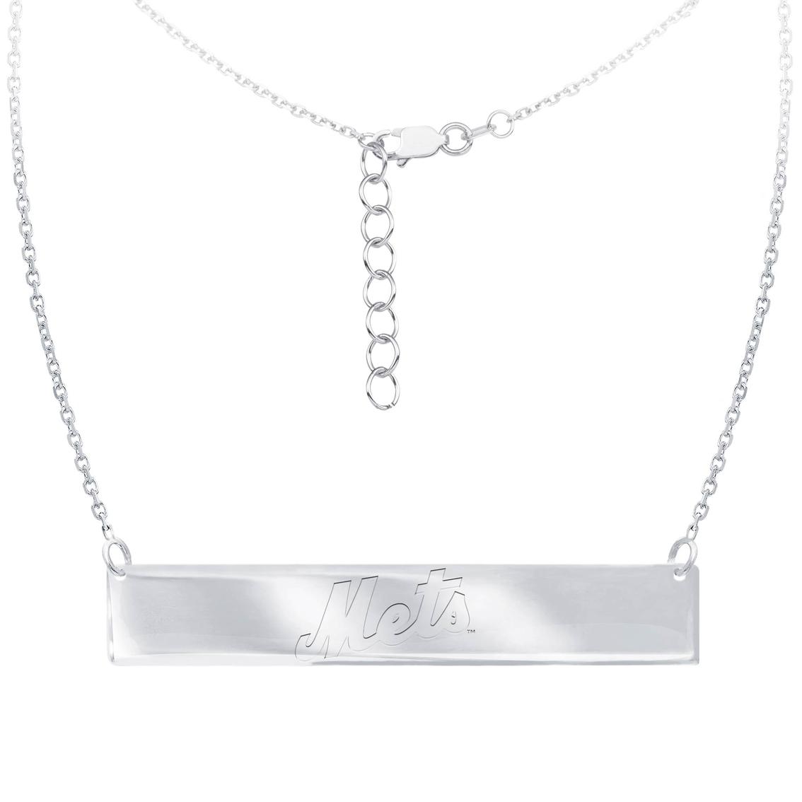 MLB New York Mets Bar Necklace DiamondJewelryNY Silver Pendant