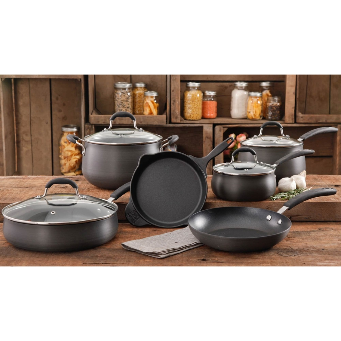 Pioneer Woman Vintage Aluminum 10 Pc Cookware Set