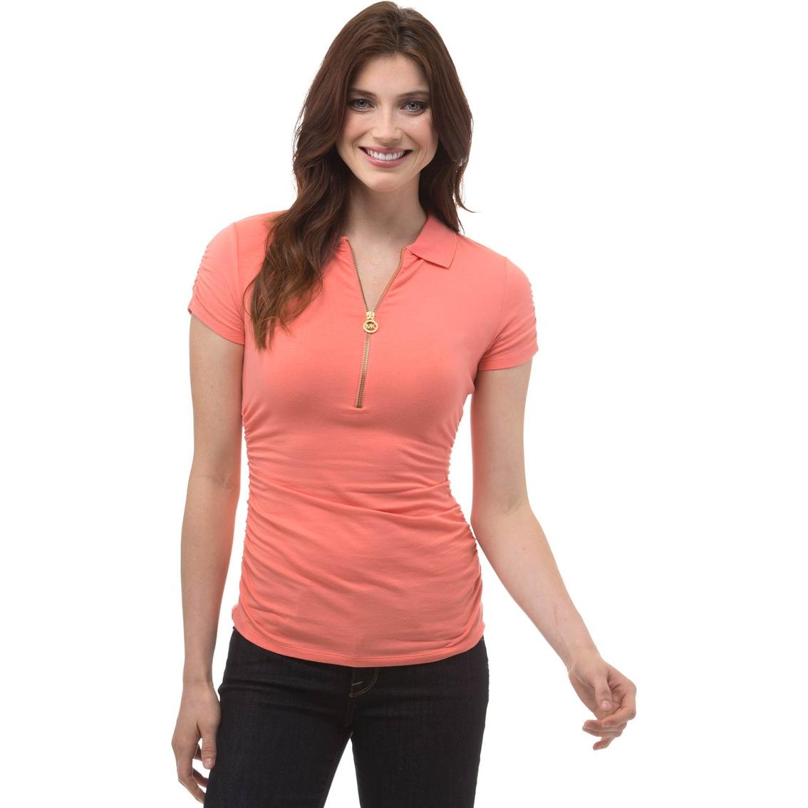 e88595a6 Michael Kors Zip Ruched Polo Shirt | Blouses & Tunics | Apparel ...