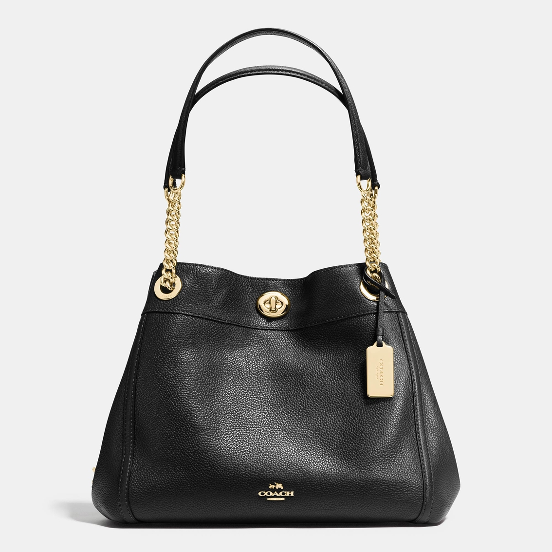 Coach Turnlock E Shoulder Bag In Pebble Leather