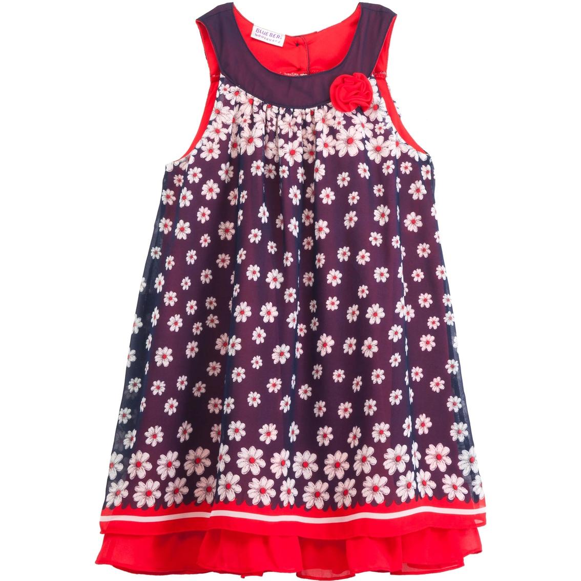 Blueberi Boulevard Girls Chiffon Daisy Sundress Dresses