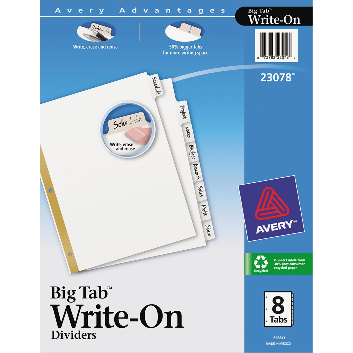 Avery Write & Erase Big Tab Paper Dividers, 8 Tab Letter