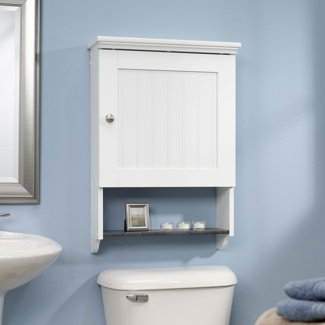 Sauder Caraway Wall Cabinet, Soft White With Slate Finish