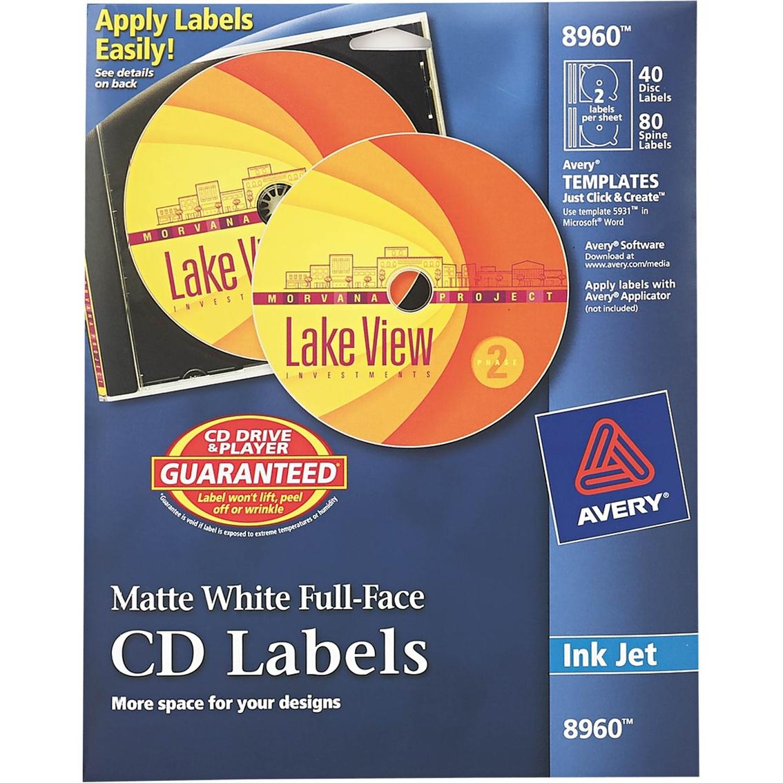 avery inkjet full face cd label 40 pk labels label makers
