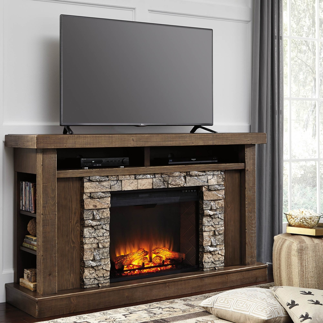 signature design by ashley tamilo tv stand with fireplace