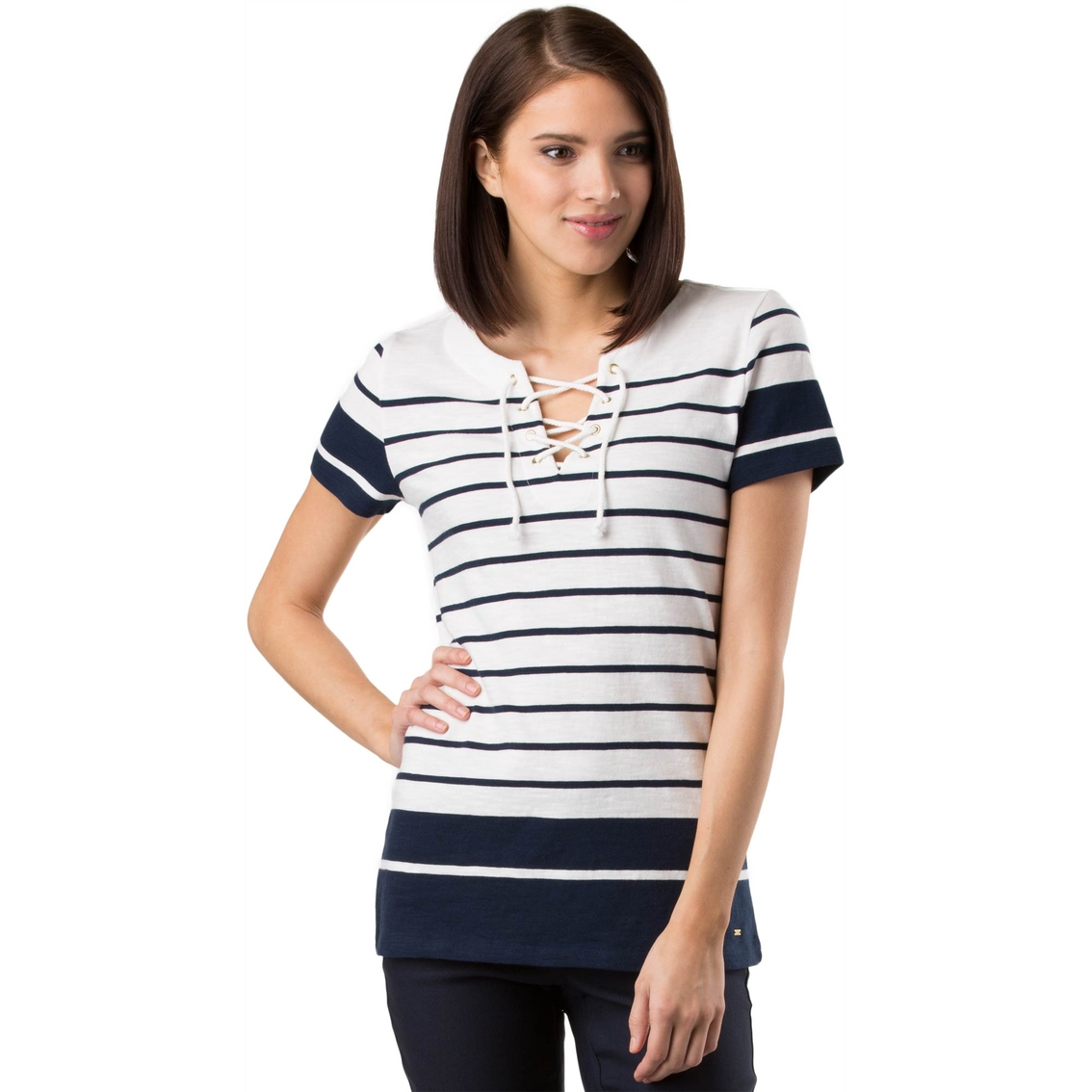 Tommy Hilfiger Pascale Lace Front Top Casual Shirts Apparel
