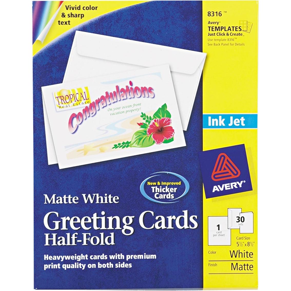 Avery Half Fold Greeting Cards Inkjet 5 12 X 8 12 White 30 Pk