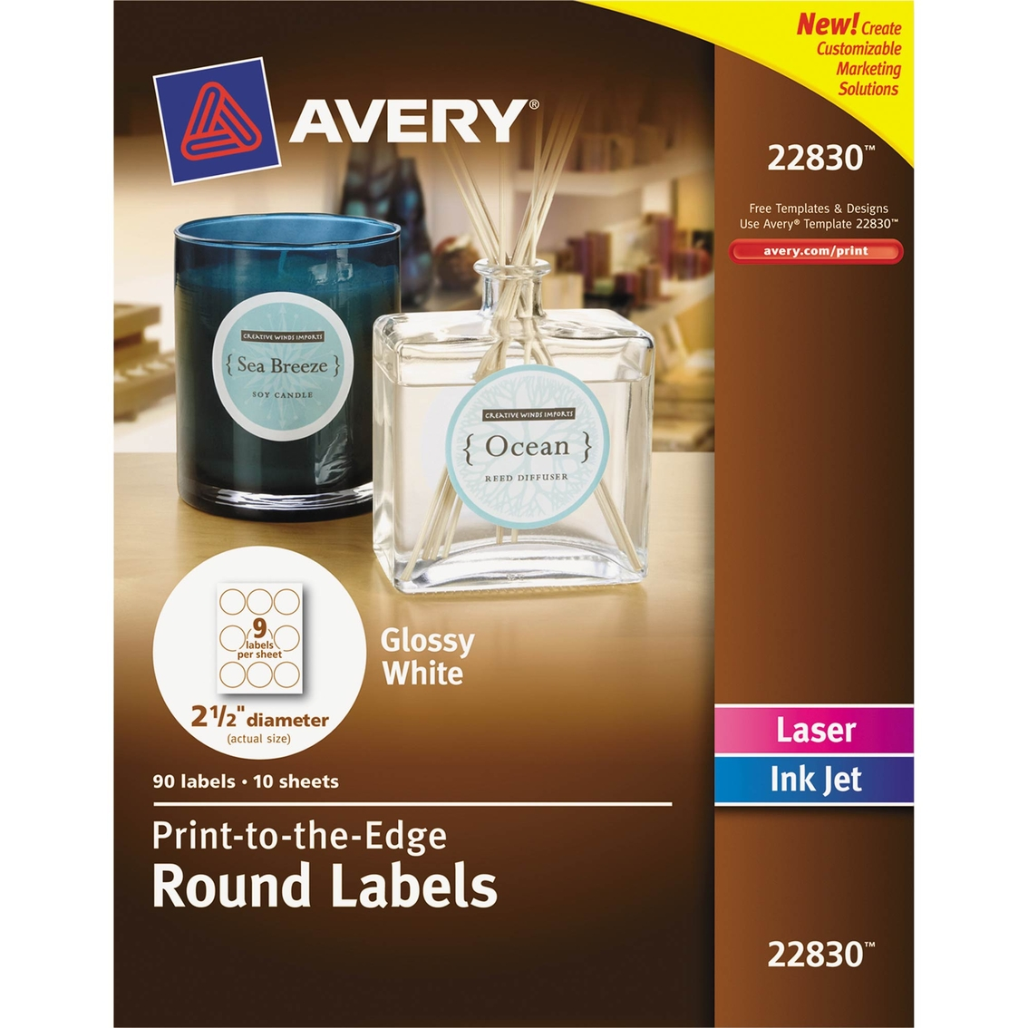 avery round print to the edge labels 90 pk