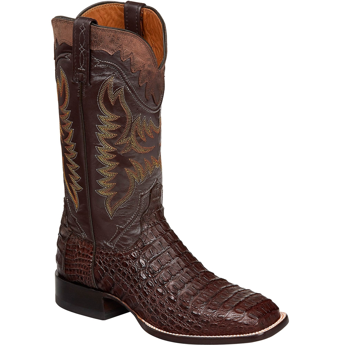 lucchese boot company rhys barrel brown hornback caiman