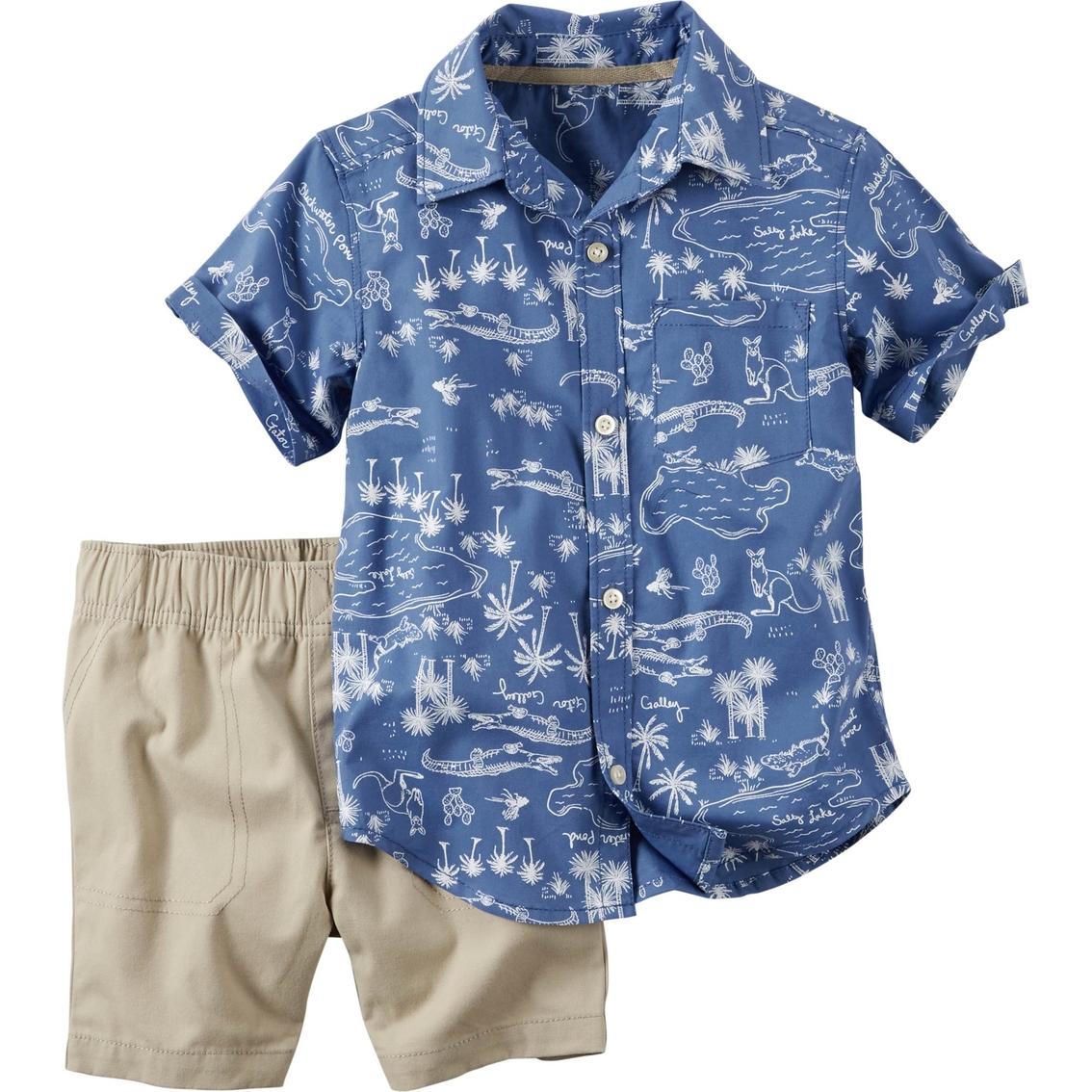 Carters Toddler Boys Blue Button Down Shirt Khaki Shorts 2 Pc Set