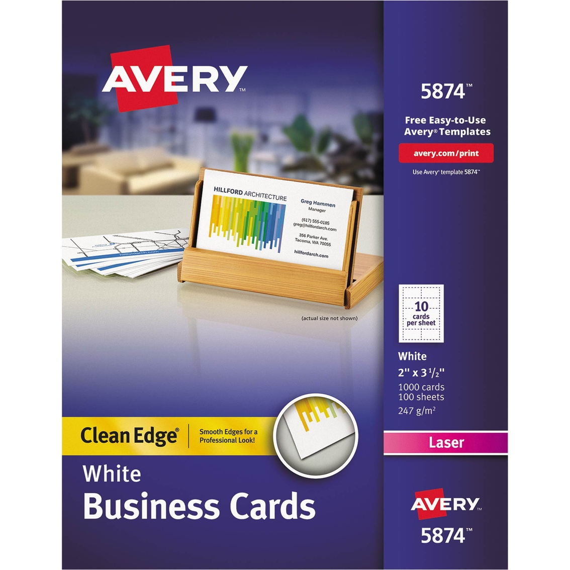 Avery premium two side printable clean edge business cards for Business cards 1000